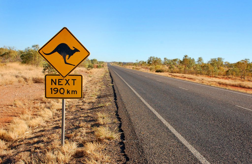 Work and Travel in Australien: Schild warnt vor Kängurus
